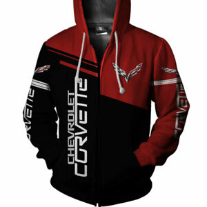 Corvette Pullover Hoodie Mens Black Sweatshirt Printed Logo COR9P3RAC8BLK