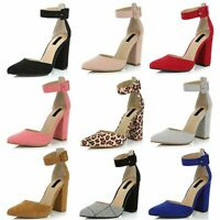 DailyShoes Women's Fashion Pointed Toe Chunky Ankle Strap Block High Heels Shoes