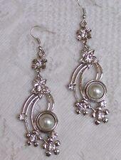 SNAP Silver Plated Fancy Long Dangler Earrings Interchangeable Snap
