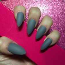 Hand Painted Full Cover False Nails. Stiletto Matte Grey Nails. 24 Nail Set.