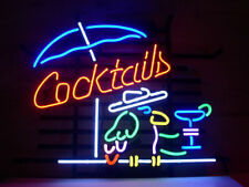 "New Cocktails Parrot Umbrella Bar Decor Artwork Neon Light Sign 24""x20"""