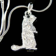 w Swarovski Crystal Squirrel Prairie dog Marmot Charm Pendant Necklace Jewelry