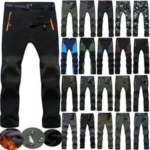 Mens Windproof Winter Trousers Fleece Lined Climbing Hiking Ski Pants Outwear