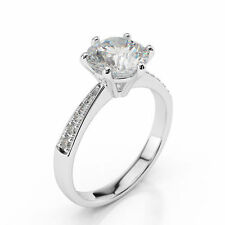 Certified 2.10Ct Round Cut Lab Created Diamond Engagement Ring in 14K White Gold