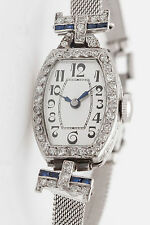 Antique 1920 $5000 1.50ct French Cut Sapphire Diamond Platinum Ladies Watch WRTY