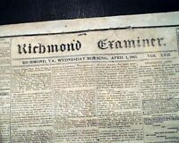 Rare CONFEDERATE Richmond VA Virginia Civil War 1861 Newspaper re. the Future
