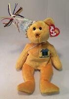 32ae585924f 2002 Ty November Birthday Plush Beanie Yellow Bear Stuffed Animal Toy Boys  Girl