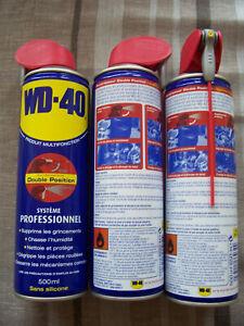 3 Dégrippants Lubrifiants WD40 500ml Système professionnel double positions