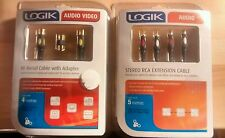 Logik AV Cables. 4m RF Ariel Cable with adaptor/ 5m Stereo Extension Cable