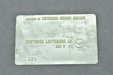Lufthansa German Airlines Validation Plate Deutsche