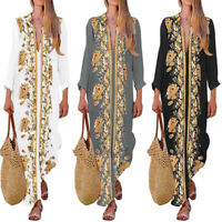ZANZEA Womens Floral Long Sleeve Split Shirt Dress Ladies Maxi Dresses Kaftan
