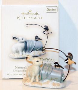 Nature's Sketchbook NEW Hallmark 2007 Marjolein Bastin Ornament RABBIT CHICKADEE
