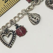 Enamel Ladybug  Piano Catches MIT Sterling Charm Bracelet 24.5 Grams 7 Inches