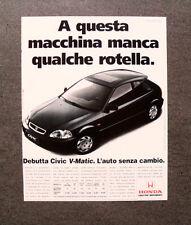 [GCG] L373- Advertising Pubblicità - HONDA CIVIC V MATIC , L'AUTO SENZA CAMBIO