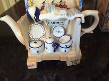 """Vintage Paul Cardew Miniature One-Cup Teapot """"China Stall"""" Vase Made in England"""