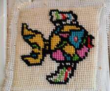 Vintage Unfinished Almost Completed NEEDLEPOINT Tapestry Needlework FISH 60-70's