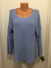 Chico's  Sweater  Blue Modal Cotton 3/4 Sleeve Size  2  Pull Over Knit