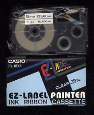 1x Casio IR-18X1 BLACK / CLEAR 18mm Farbband LABEL TAPE EZ-Label Tape