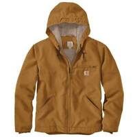 Carhartt Washed Duck Sherpa Lined Jacket 104392 Brown Mens 2XL Regular NWT