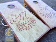 """""""The Mixon"""" Real Birch Stained Custom Personalized Cornhole Board Set"""