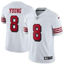 Steve Young #8 San Francisco 49ers Men's White w/ red # & black stroke Jersey