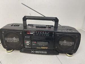 RARE SHARP X-BASS WQ-T352E STEREO RADIO TWIN CASSETTE BOOMBOX