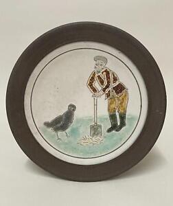 Rodney Lawrence Studio Pottery - Humorous Stoneware Sgraffito Plate Art Pottery