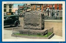 Monument Commemorating Burning Of Chambersburg, Chambersburg, PA- Early Postcard