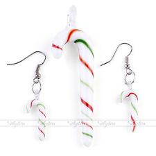 Murano Lampwork Glass Cane Bead Pendant Dangle Earrings Set Christmas Gift