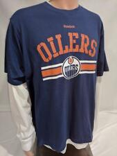 LZ Men's Large Reebok 3-in-1 Edmonton Oilers Layered Long Sleeve T-Shirt Tee NEW
