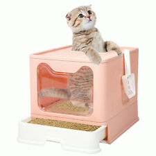 Top Entry Cat Litter Box with Lid Foldable Plastic Litter Boxes Cats Toilet