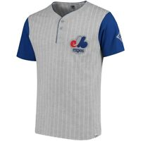 Majestic Men's Montreal Expos Gray/Royal Cooperstown Collection Henley T-Shirt