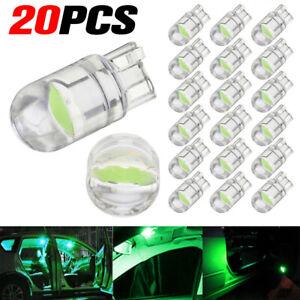20x Green T10 W5W LED COB Wedge Car Interior Light Reading Lamp Dome Map Bulbs