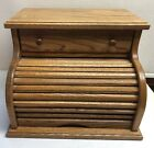 Oak Roll Top Wood Bread Box Storage With Drawer Vintage Farmhouse