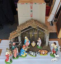 "Christmas Nativity Italy made Precepio original 40yr old MINT Mache Manger 30"""