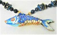 RARE 1940's ONYX 10kt Enamel JAPAN Wiggle Koi Fish Necklace -LUCK HAPPINESS LOVE