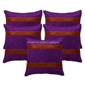 Indian Living Room Sofa Cushion Covers 40 x 40 cm Jacquard Satin Velvet Set Of 5