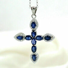 2Ct Oval & Pear Cut Blue Sapphire Cross Pendant Necklace 14K White Gold Finish