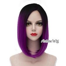 Lolita 40CM Medium Black Mixed Purple Gothic Women Party Cosplay Wigs + Wig Cap