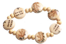 Gorgeous Light Brown Chinese Print Stone & Beads Stretchable Bracelet.(Zx114)