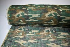 """Burlap Jute Fabric 48""""W Woodlands Camo By The Yard Premium Natural Upholstery"""