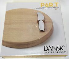 Dansk Graves Studio Par.T Round Cheese Board Wooden Block And Knife
