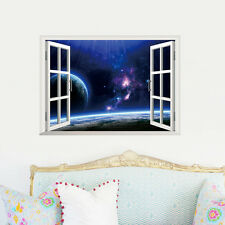 Outer Space Planets Window View Wall Sticker Decal Finish size 68*48