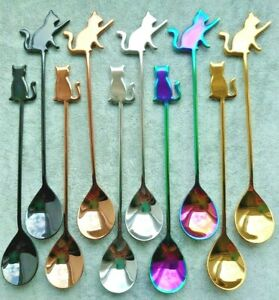 Cat Topped Metal Stirring Spoon - 14.5cms long (5 colour choice/2 designs)