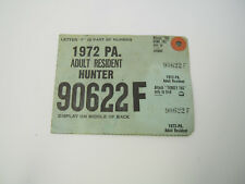 1972 Pa Adult Deer Bear Hunting Trapping License Turkey Tag Big Game Tag 90622F
