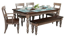 "(6) Pc. Amish Farmhouse Dining Set Solid Wood Grey Rectangle Table Bench 42""x72"""