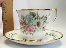 Vintage Elizabethan Bone China Ribbed Tea Cup and Saucer  Pretty  Flowers !