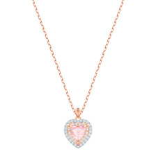 Swarovski Jewelry One Heart Pendant Necklace, Rose Gold -5439314 New