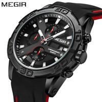 MEGIR Top Brand Luxury Sport Watch Men Silicone Quartz Watch Army Military Chron