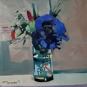 JOSE TRUJILLO Oil Painting IMPRESSIONISM BLUE FLOWER STILL LIFE COLLECTIBLE ART
